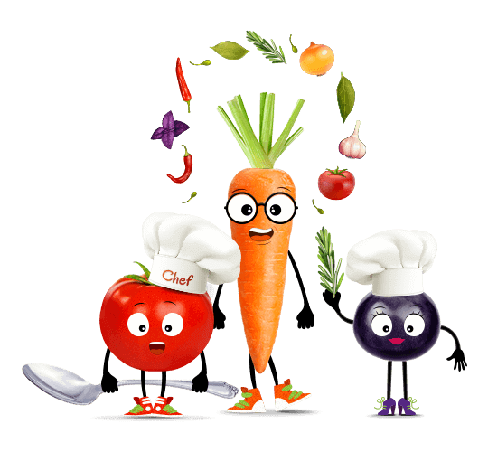 tomato carrot and blueberry cooking